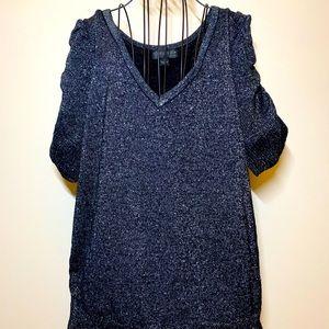Forever 21 Puff Sleeve Black Metallic Sweater XL